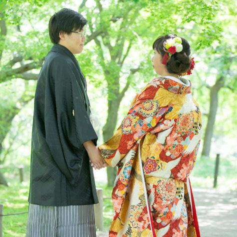 【色打掛】飛鶴紅梅白梅唐華文/【白無垢】刺繍カトレアに鶴