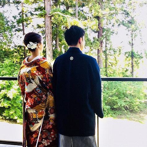 【色打掛】飛鶴紅梅白梅唐華文