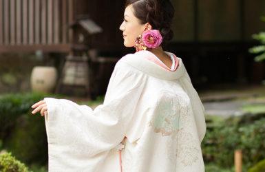 【白無垢】正絹シボパール花篭