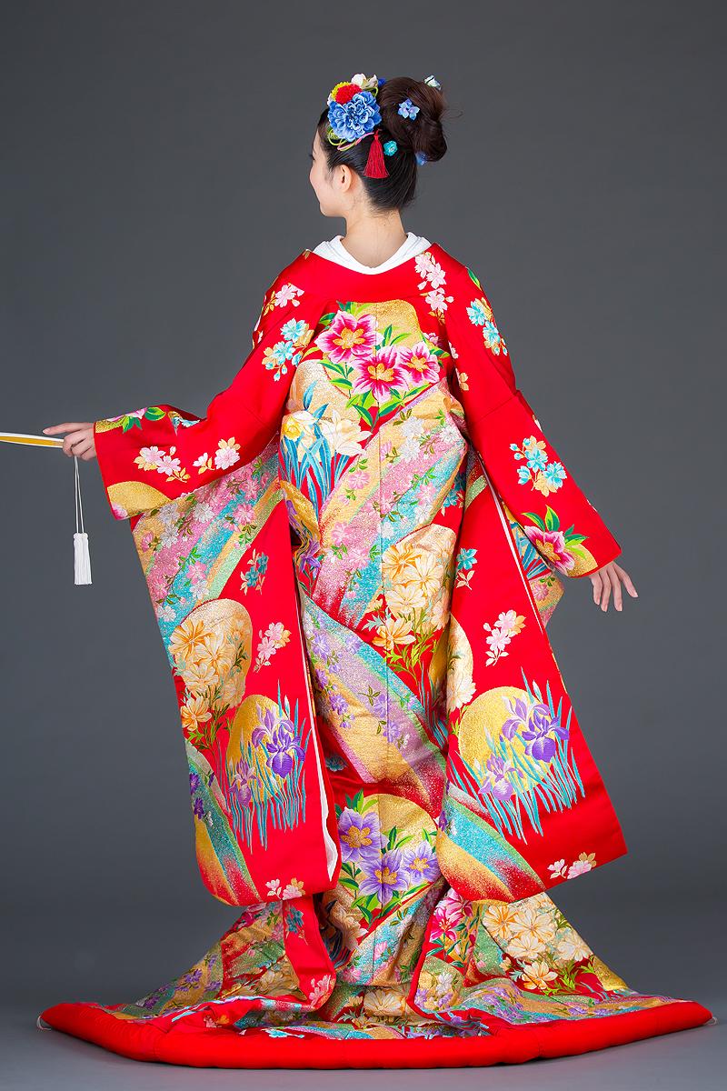 色打掛 ラメ糸織虹に花の背面画像