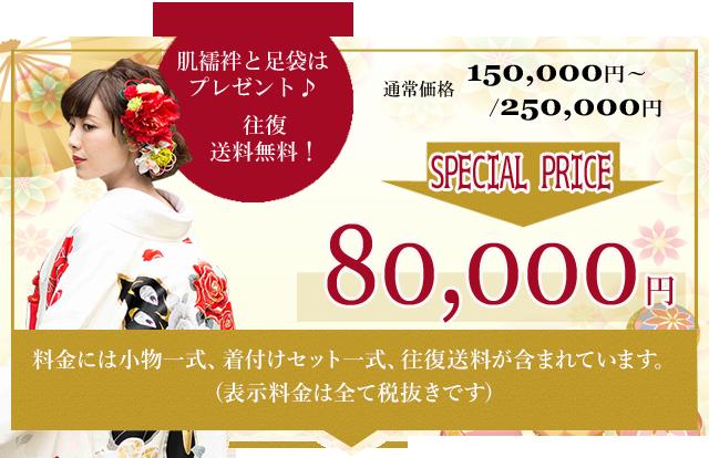通常価格150,000円~250,000円が50%OFFのキャンペーン価格80,000円
