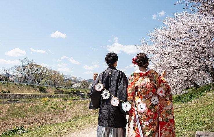 【白無垢】群鶴/【色打掛】赤御所車に鶴