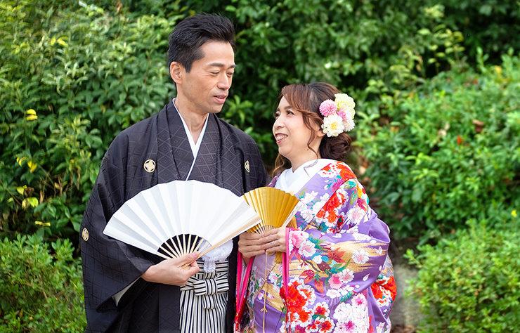 【色打掛】薄紫牡丹/ローズ赤バラに蝶
